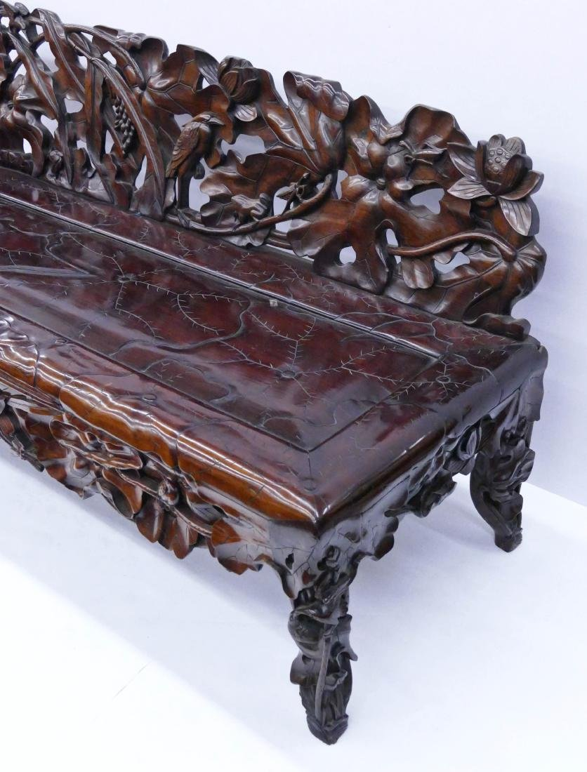 Fine Chinese Rosewood Lotus Bench 30''x64''x24''. - 5