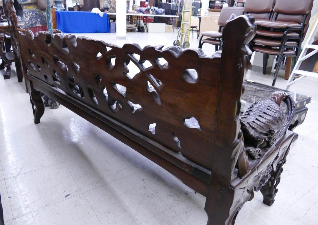 Fine Chinese Rosewood Lotus Bench 30''x64''x24''. - 6
