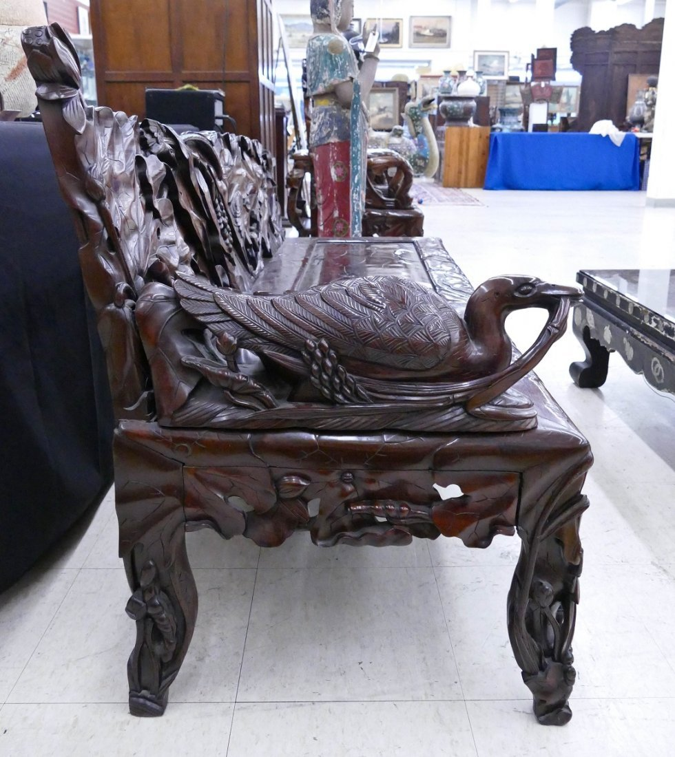Fine Chinese Rosewood Lotus Bench 30''x64''x24''. - 9
