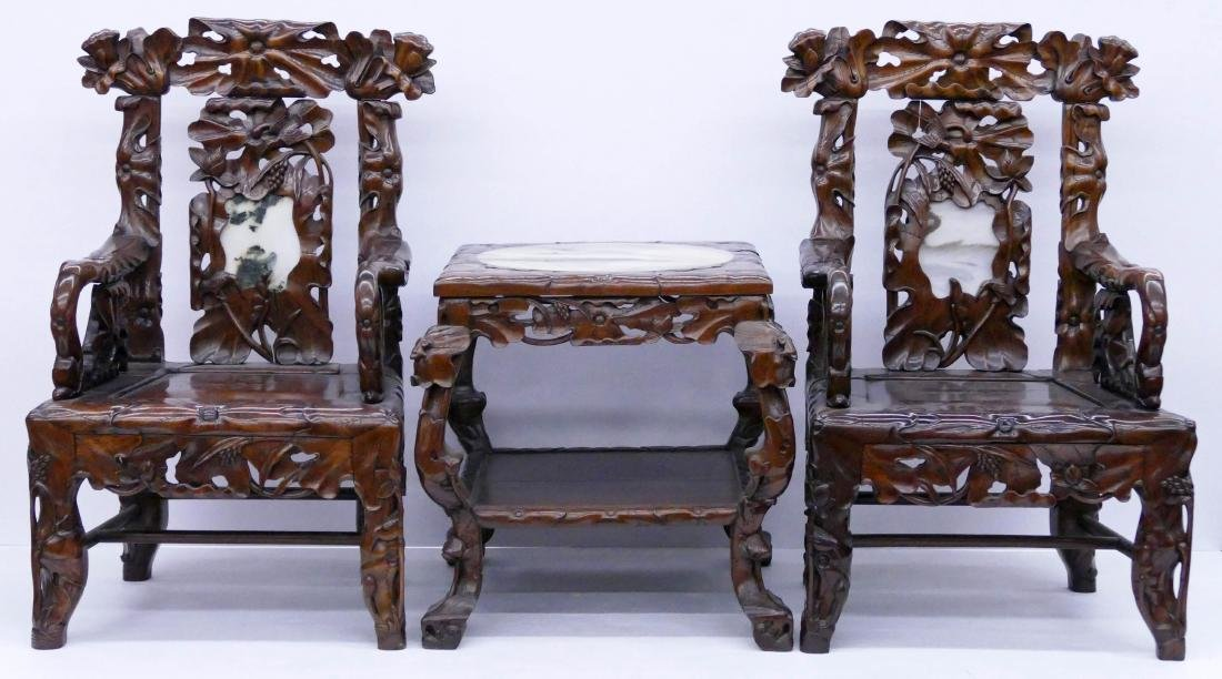 Fine Chinese Rosewood Lotus Chair & Table Set. Includes