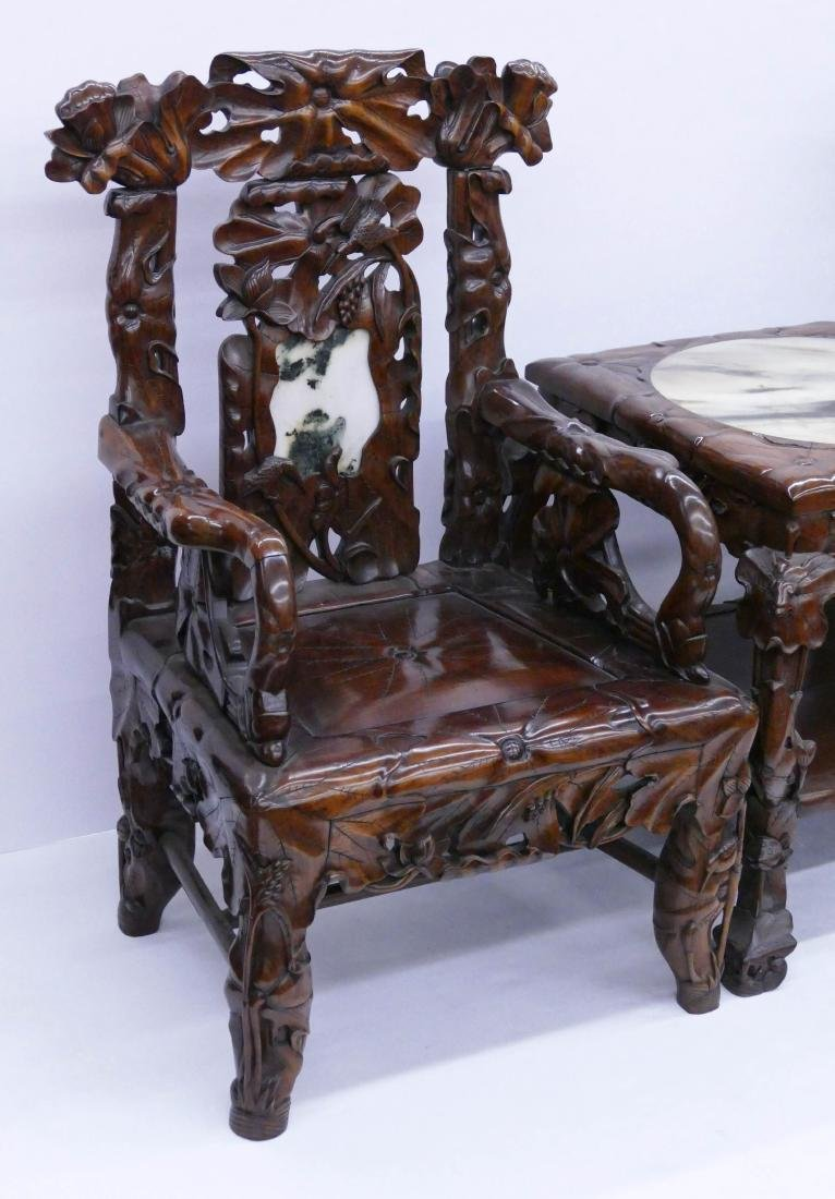Fine Chinese Rosewood Lotus Chair & Table Set. Includes - 2