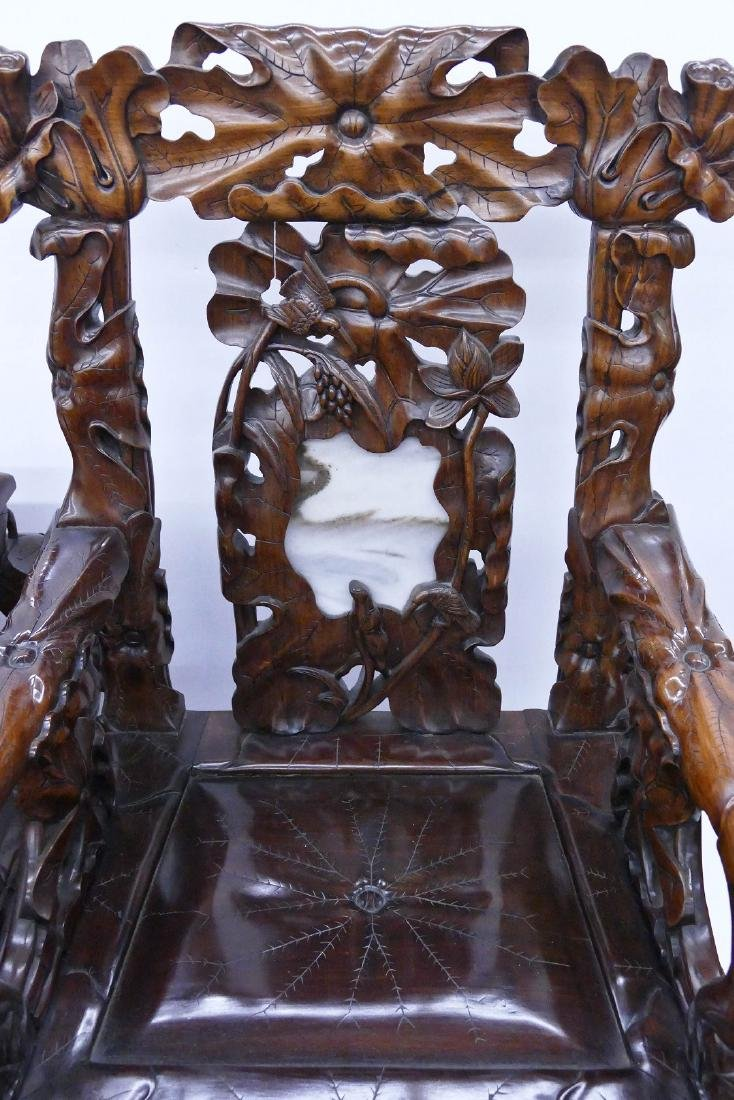 Fine Chinese Rosewood Lotus Chair & Table Set. Includes - 4