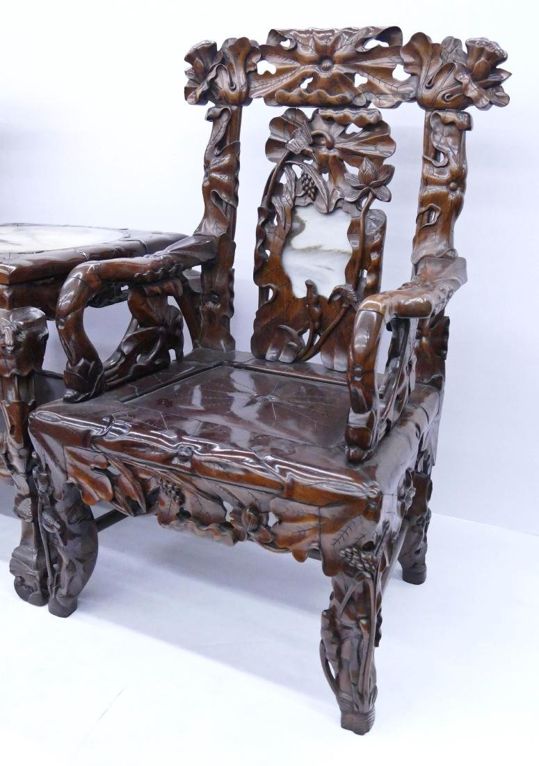 Fine Chinese Rosewood Lotus Chair & Table Set. Includes - 5