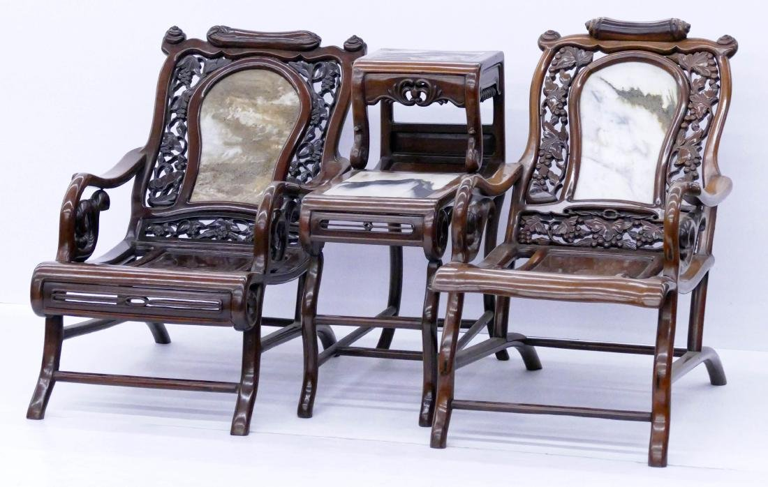 Chinese Rosewood Star Gazing Chair & Table Set. A pair
