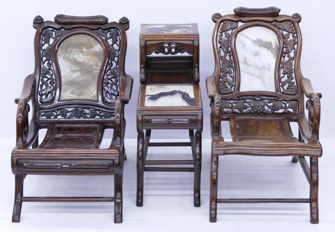 Chinese Rosewood Star Gazing Chair & Table Set. A pair - 2