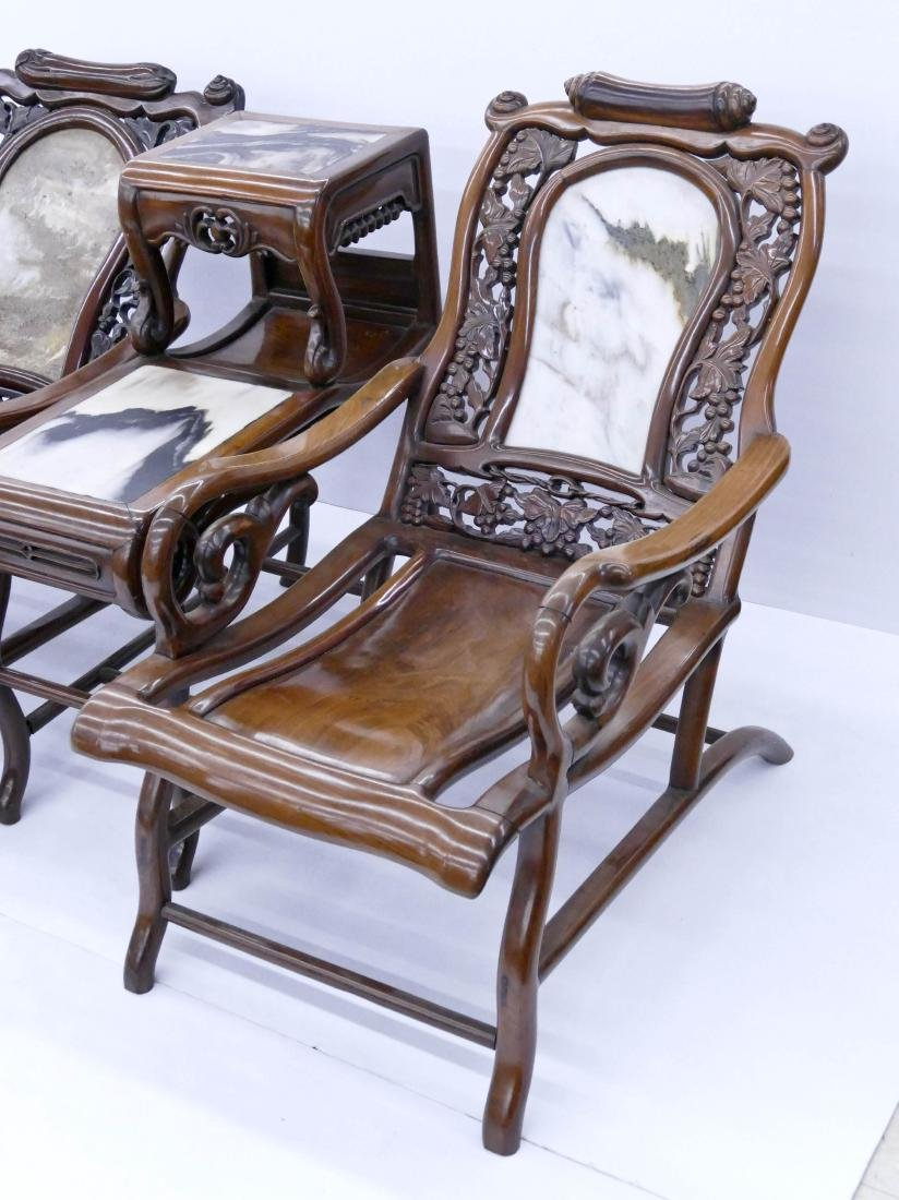 Chinese Rosewood Star Gazing Chair & Table Set. A pair - 3