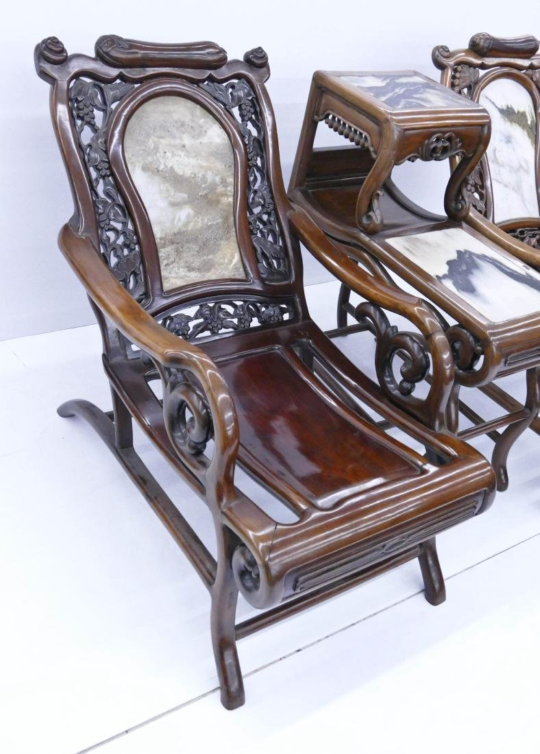Chinese Rosewood Star Gazing Chair & Table Set. A pair - 5