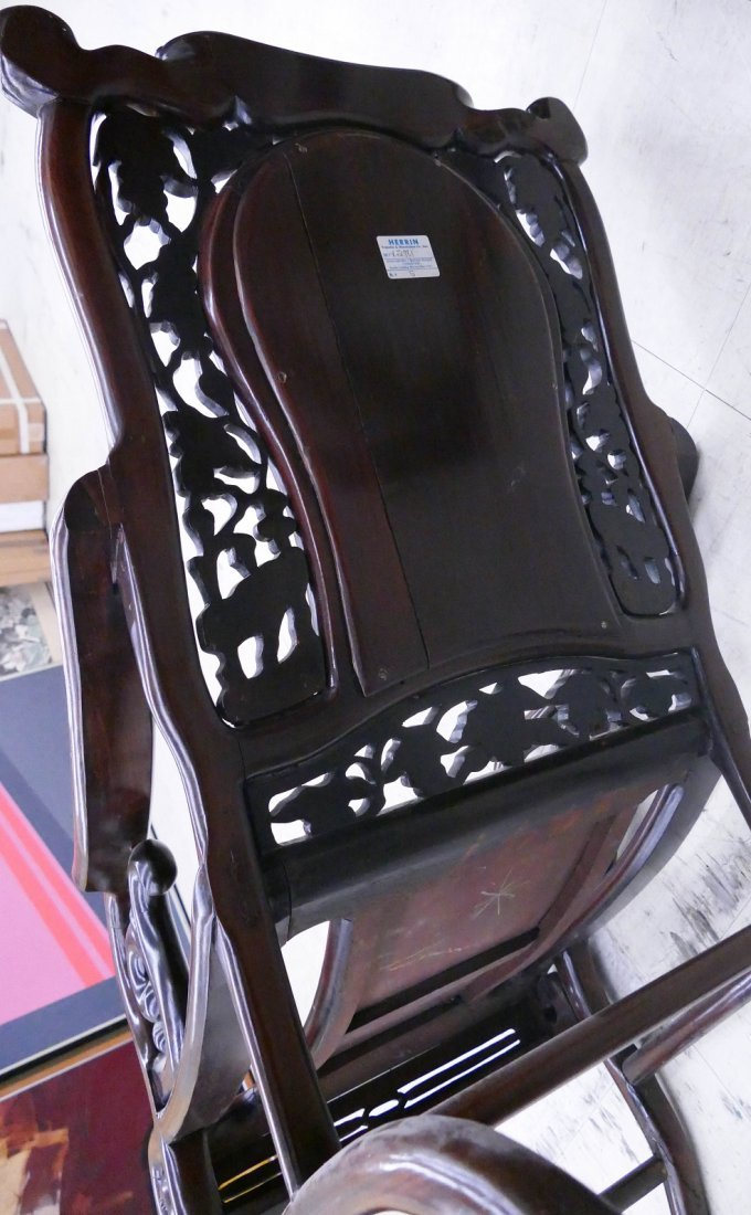 Chinese Rosewood Star Gazing Chair & Table Set. A pair - 7