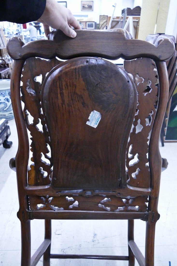 Chinese Rosewood Star Gazing Chair & Table Set. A pair - 9
