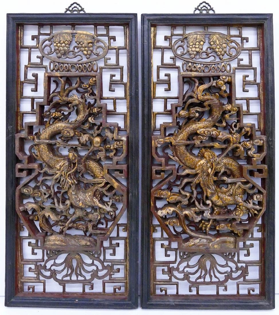 Pair Chinese Dragon Temple Panels 36''x16.5'' Each.