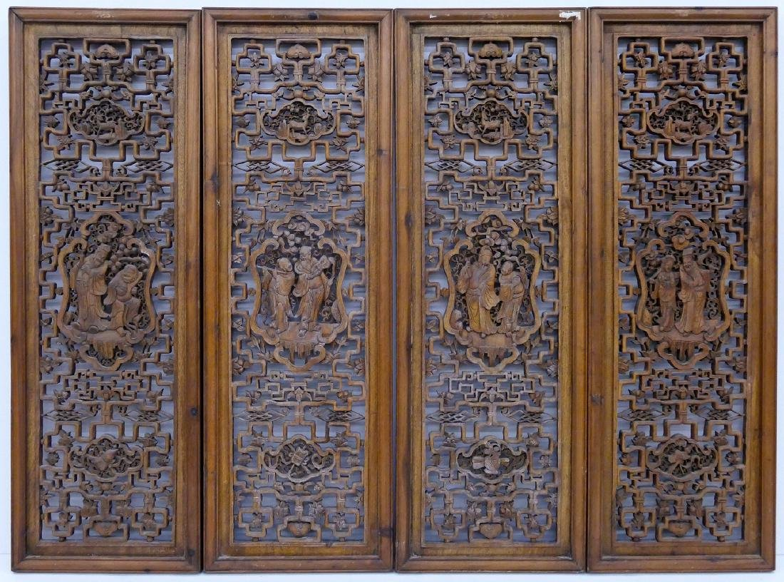 Set 4 Chinese Pierced Carved Panels 40''x13.5'' Each.