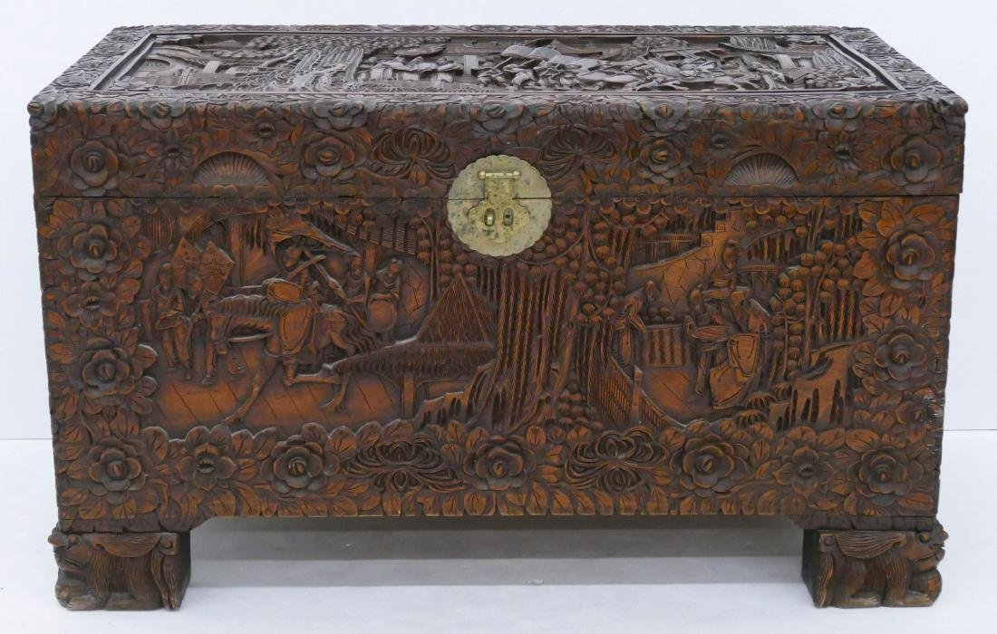 Fine Chinese Carved Camphor Blanket Chest