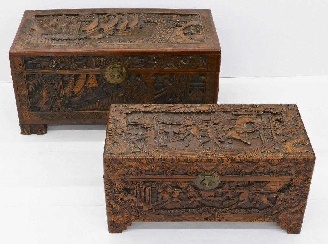 2pc Chinese Camphor Blanket Chests. Includes two relief