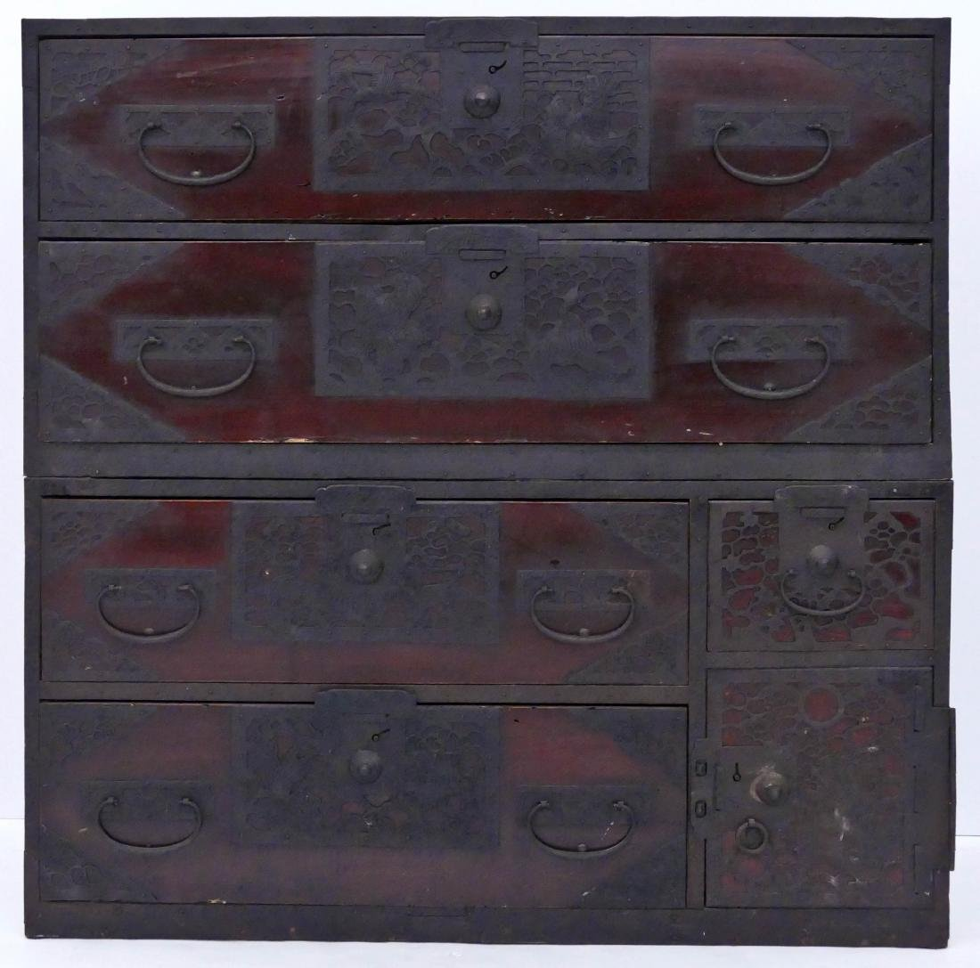 Early Japanese Clothing Tansu Chest 40.5''x40''x16''.