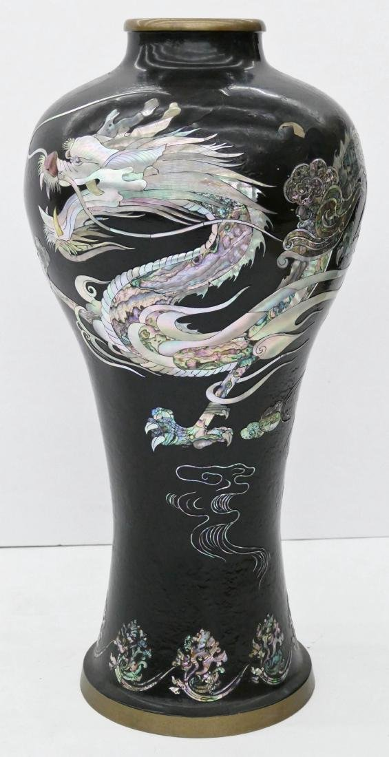 Korean Lacquered Dragon Large Vase 26''x13''. Mother of