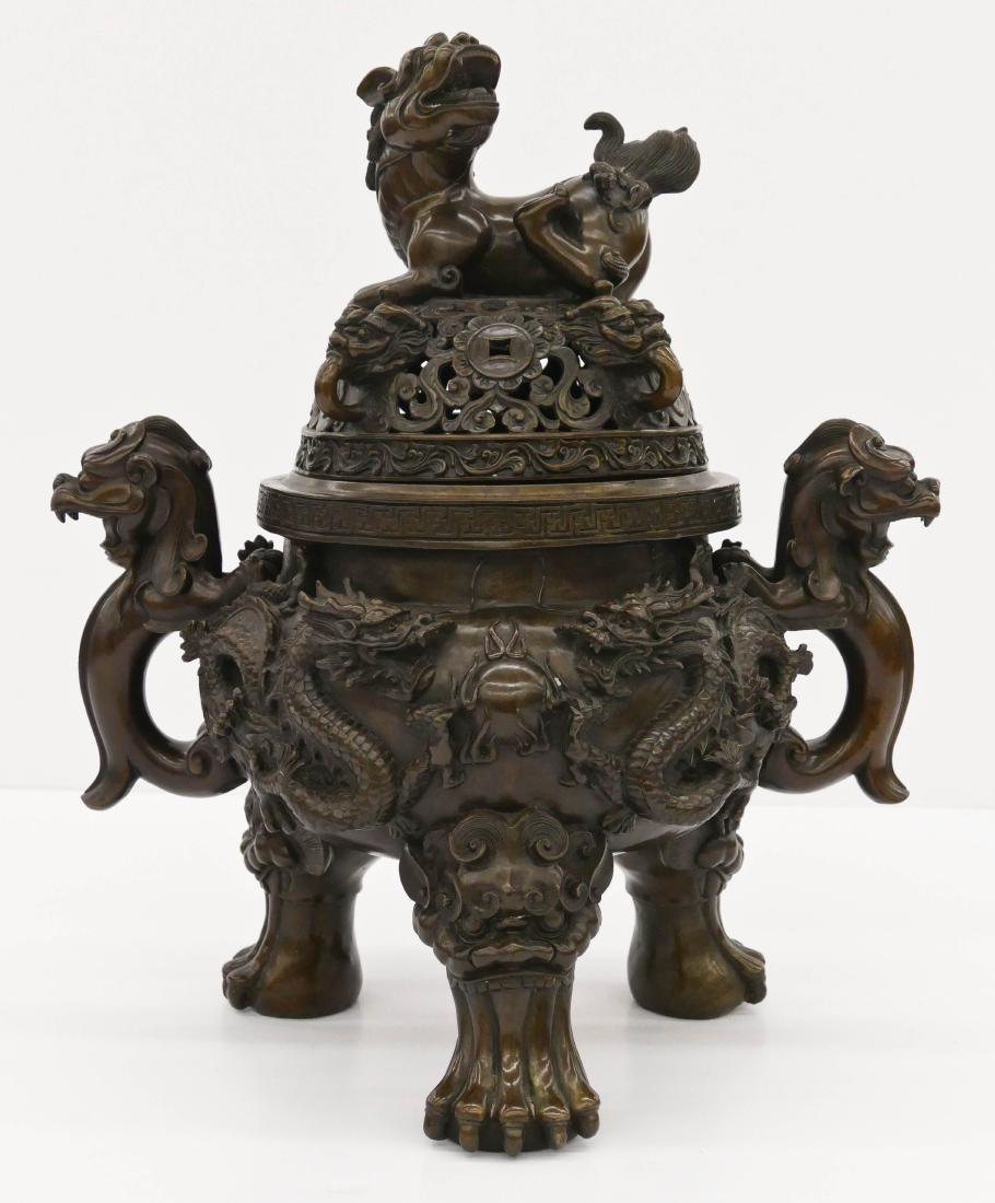 Impressive Chinese Bronze Dragon Censer 19''x17''. A
