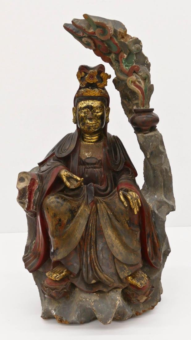 Fine Chinese Parcel Gilt & Lacquered Guanyin