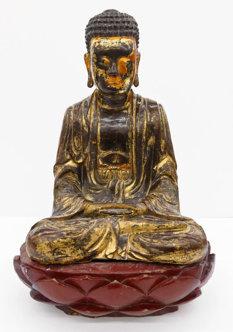 Vietnamese Lacquered Seated Buddha on Lotus Throne