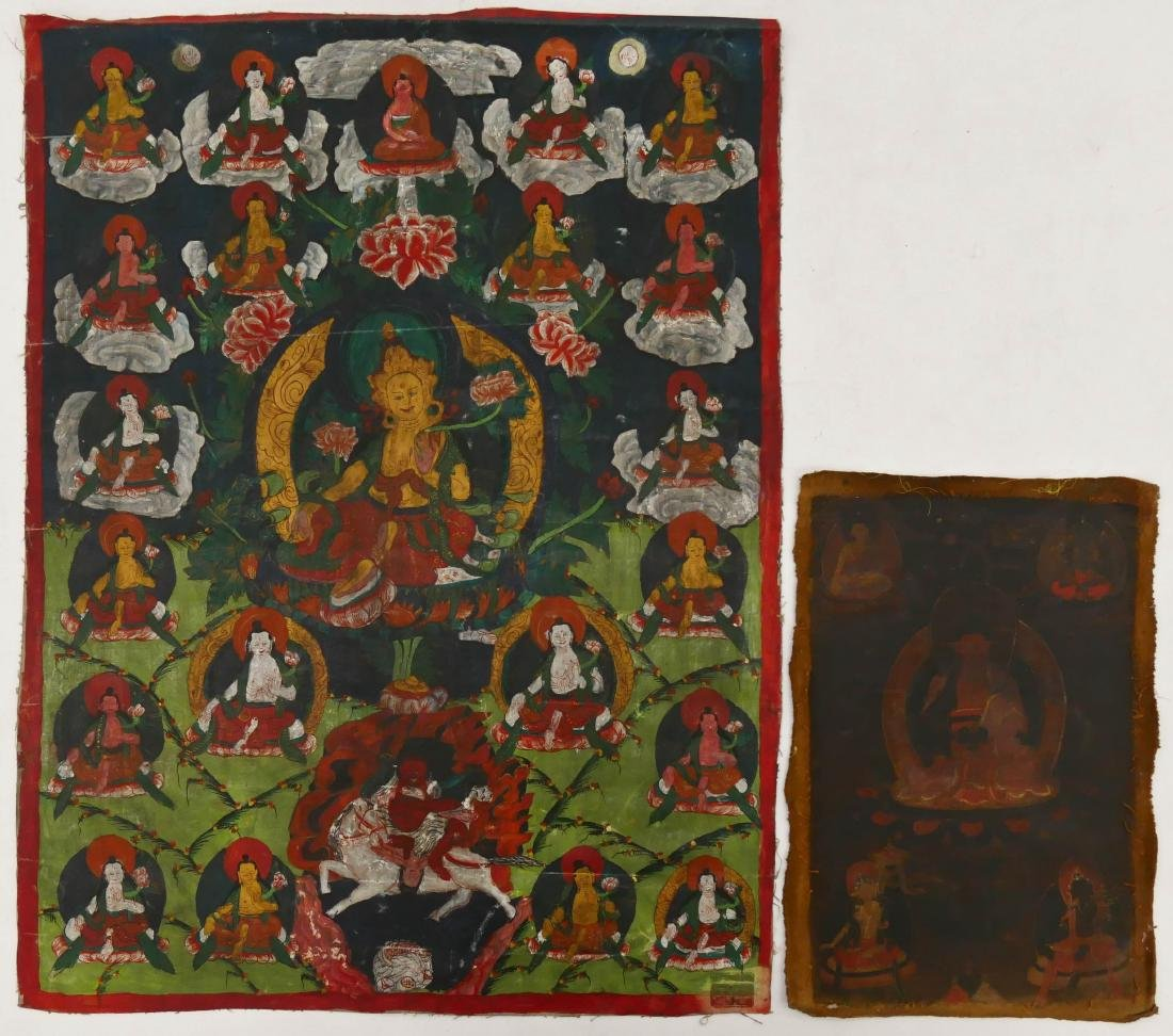 2pc Tibetan Painted Buddhist Thangkas 23''x17.5'' and