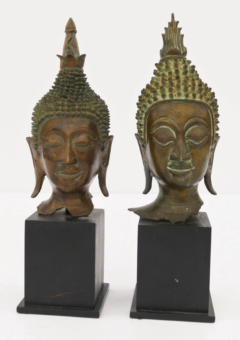 2pc Laotian Bronze Buddha Heads on Stands 13''x4'' Each