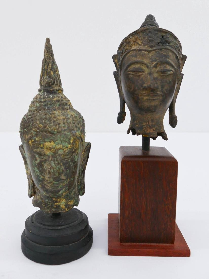 2pc Thai Bronze Buddha Heads on Stands. Includes an
