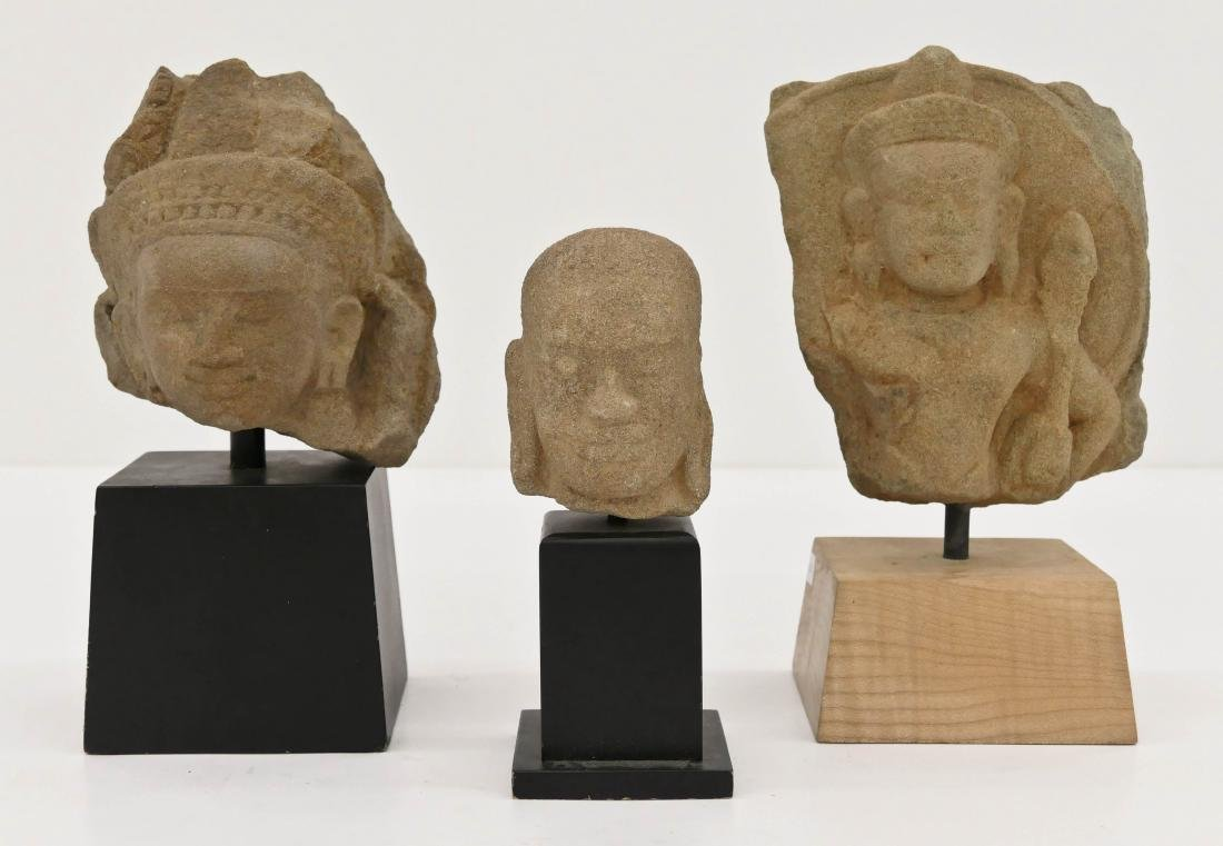 3pc Khmer Carved Stone Head Fragments on Stands.