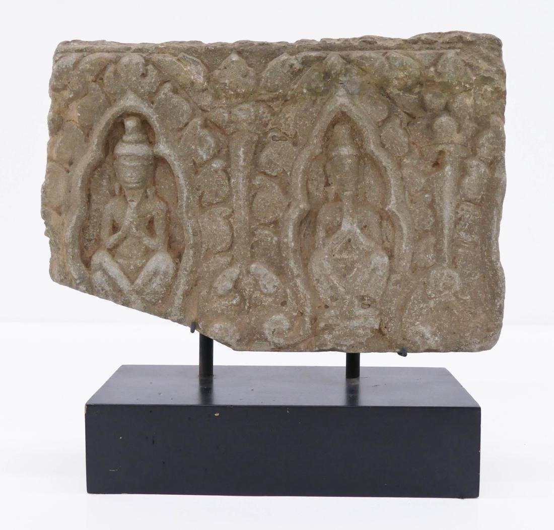Khmer Carved Stone Frieze Fragment on Stand