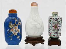3pc Chinese Ceramic Snuff Bottles Includes a blanc de