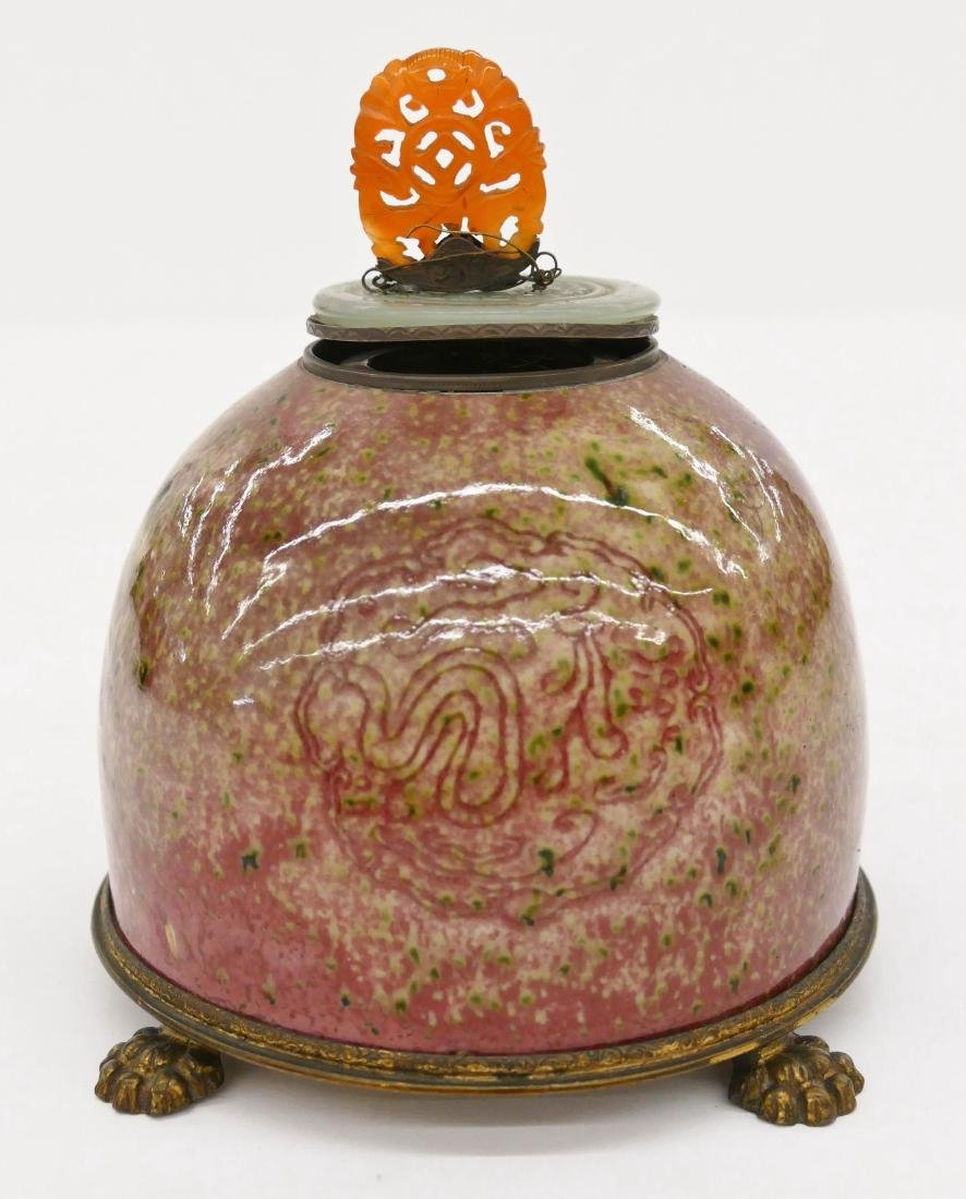 Chinese Peachbloom Porcelain Ink Pot Inkwell 4.5''x5''.