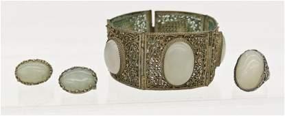 3pc Chinese White Jade Silver Filigree Jewelry Set.
