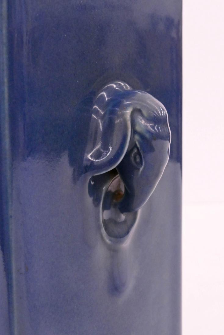 Chinese Tongzhi Blue Monochrome Cong Porcelain Vase - 4