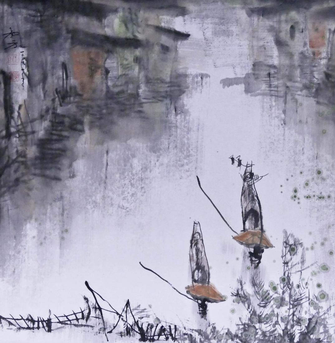 Zheng Shufang (20th Cent. Chinese) Boats on a River