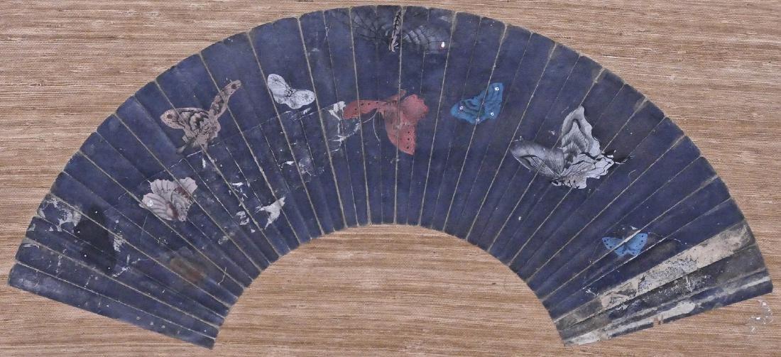 Early Japanese Fan Painting of Butterflies 10''x23.5''