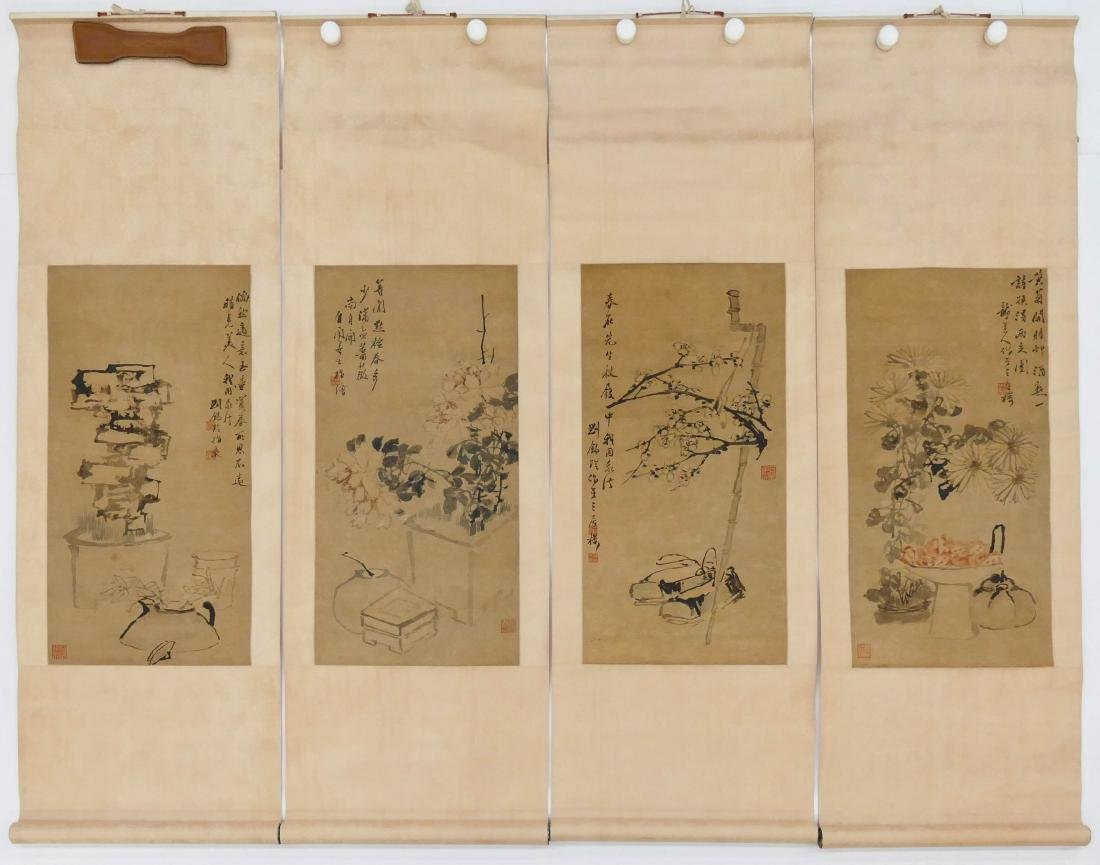 Set 4 Chinese Scroll Paintings Ink on Paper