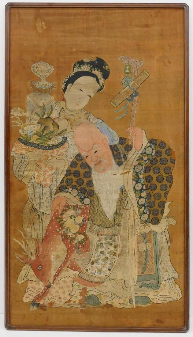 Impressive Chinese Shou Lao Painting Watercolor on Silk