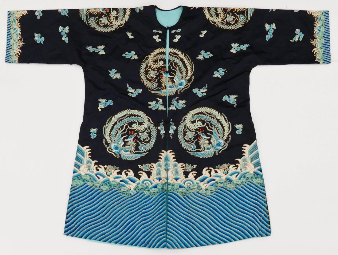 Chinese Phoenix Silk Embroidered Robe 48''x64''. Black