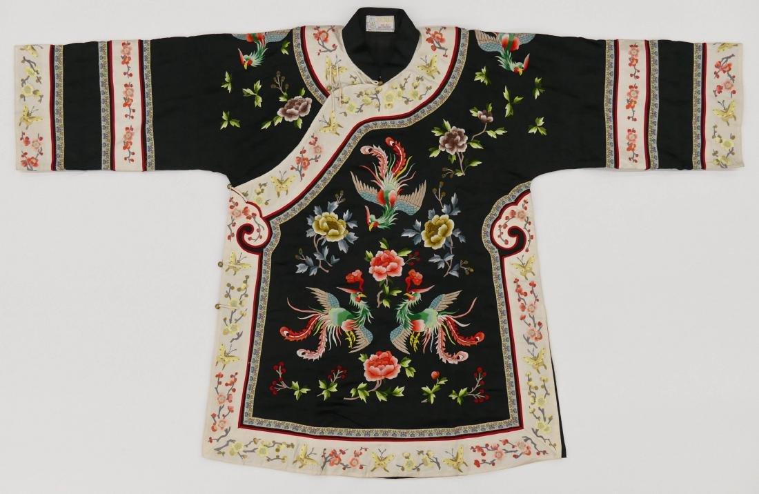 Chinese Silk Embroidered Robe 36''x56''. Black ground