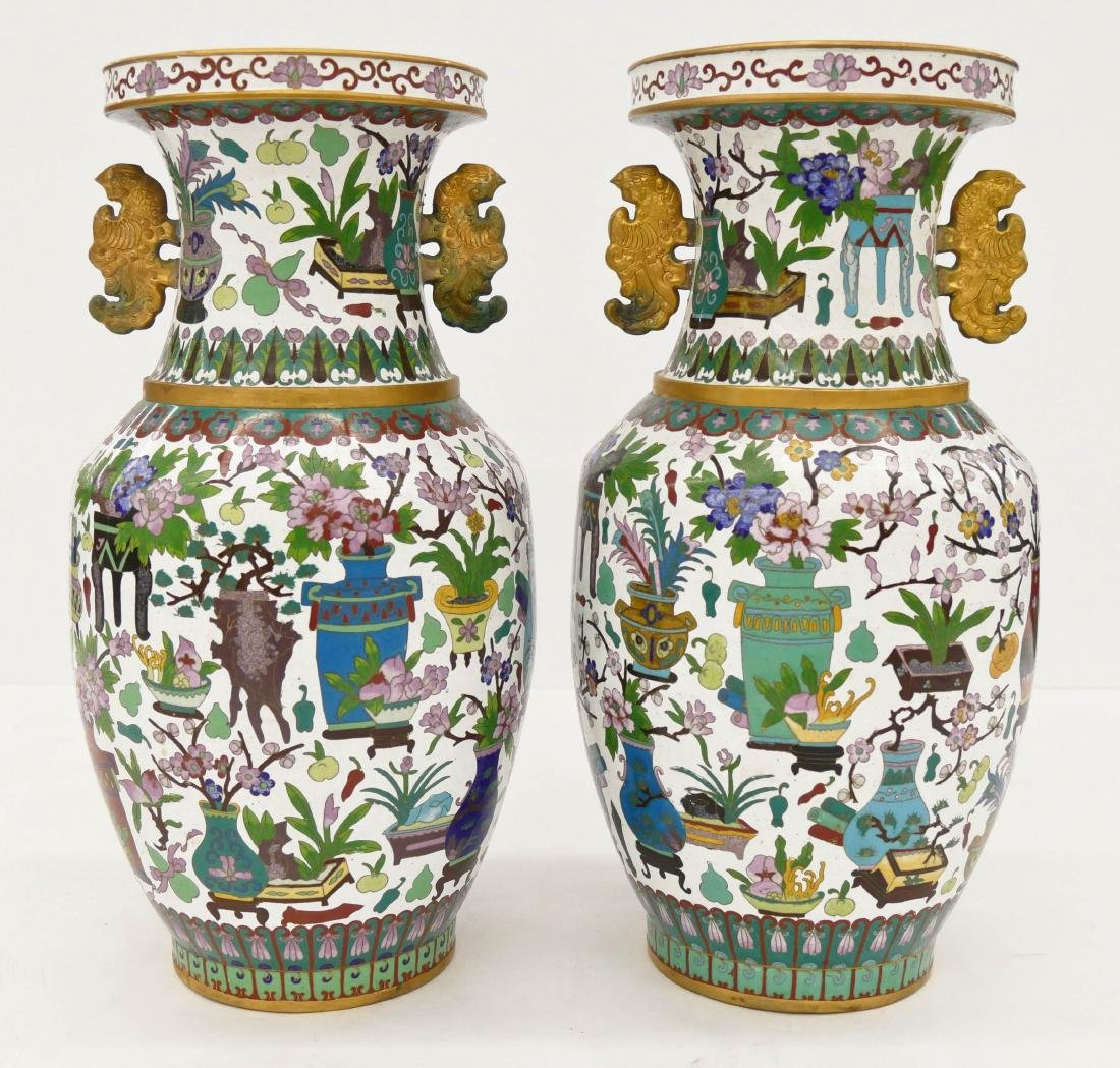 Pair Chinese Cloisonne Precious Object Vases 18''x9''
