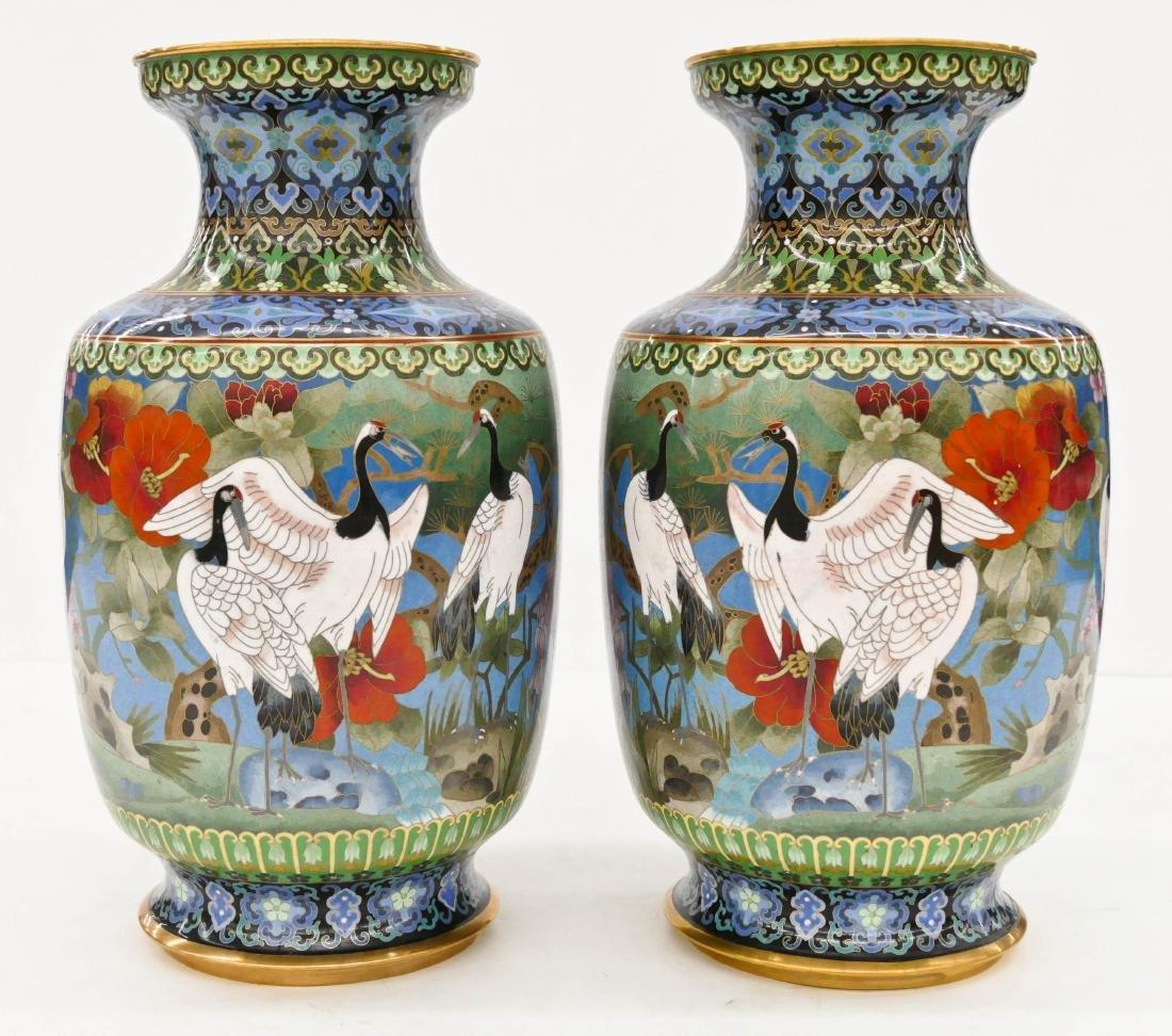 Pair Chinese Crane Cloisonne Vases 15.5''x8''.