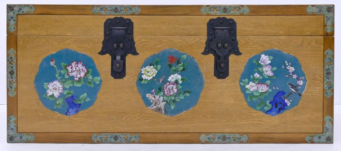 Chinese Blanket Chest with Cloisonne Panels