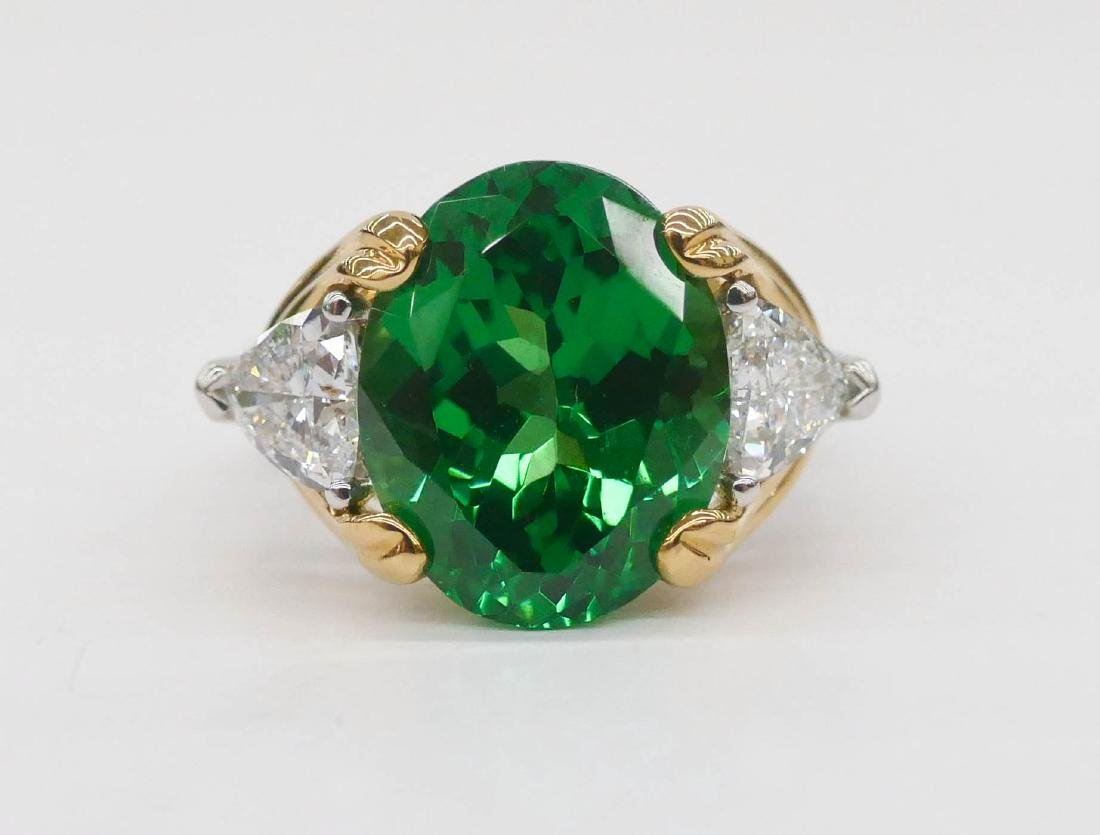 Impressive Lady's 9.5ct Tsavorite & Diamond Ring Size
