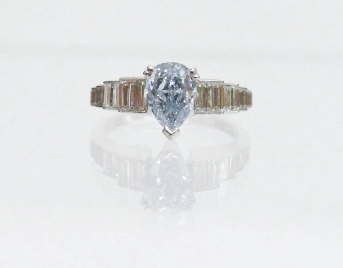 Important 1.2ct Natural Fancy Blue Diamond Ring Size