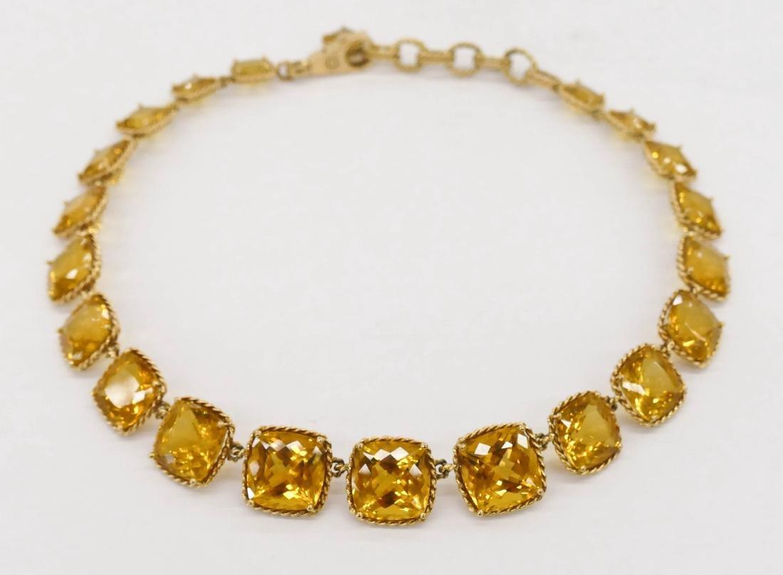Dolce & Gabbana 18k Golden Beryl Necklace 18.5''. A