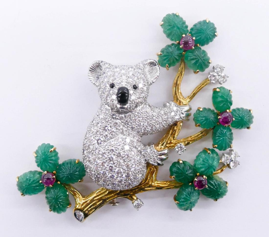 George Peyrot Inc. 18k Platinum Koala Bear Brooch