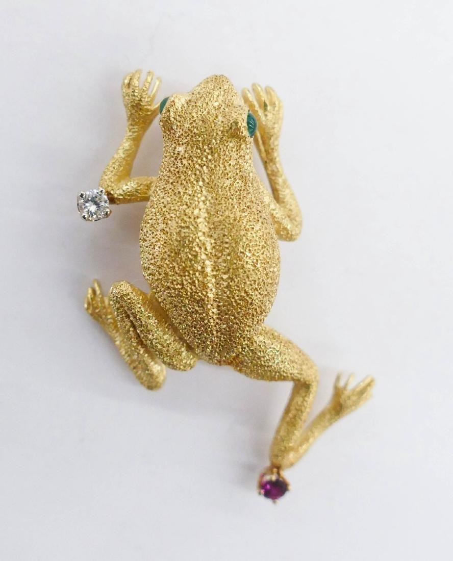 Tiffany 18k Frog Brooch 1.75''x1''. A lady's eighteen