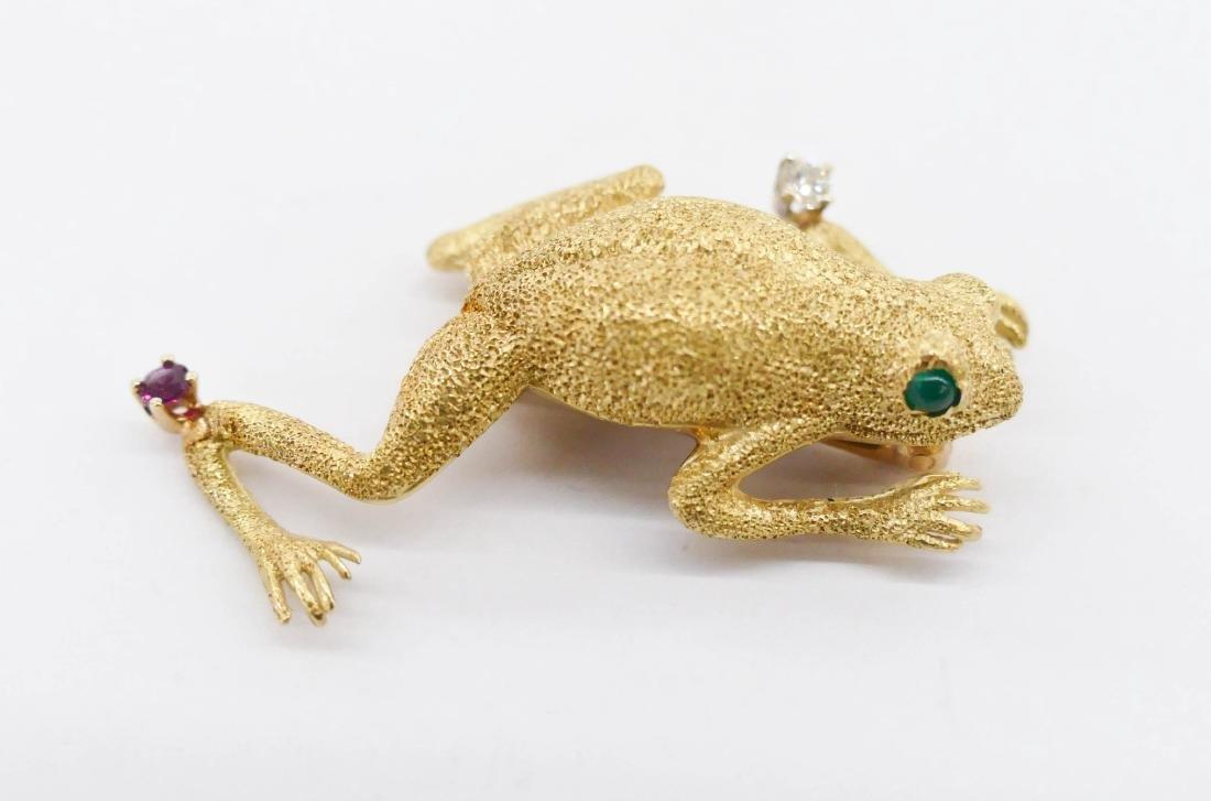 Tiffany 18k Frog Brooch 1.75''x1''. A lady's eighteen - 2