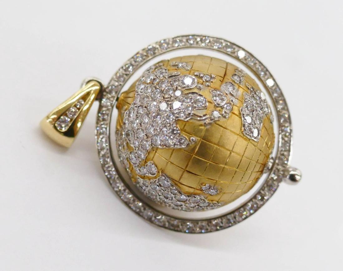 Caput Mundi Attr. 18k Diamond Globe Pendant