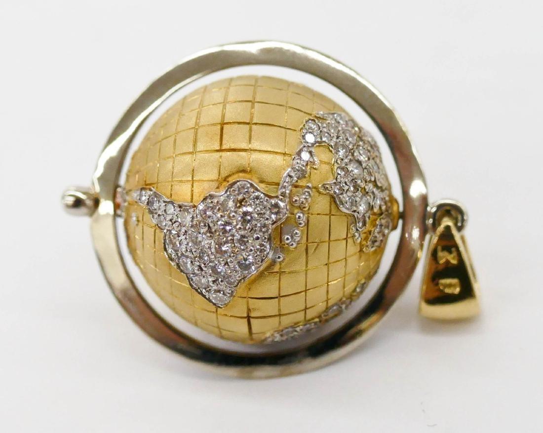 Caput Mundi Attr. 18k Diamond Globe Pendant - 3