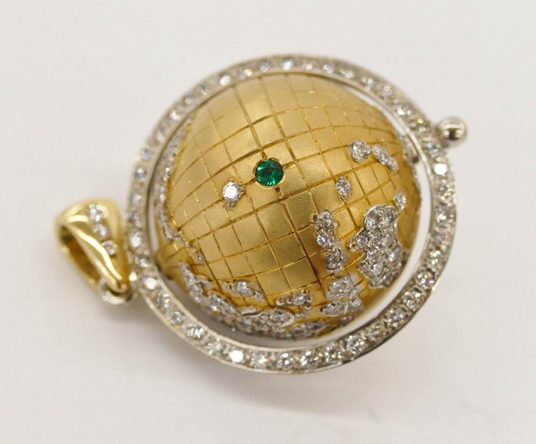 Caput Mundi Attr. 18k Diamond Globe Pendant - 5