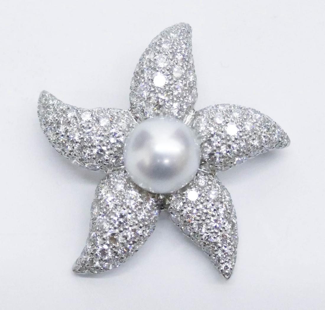 Suna Platinum Diamond Starfish Brooch 1.5''x1.5''. A